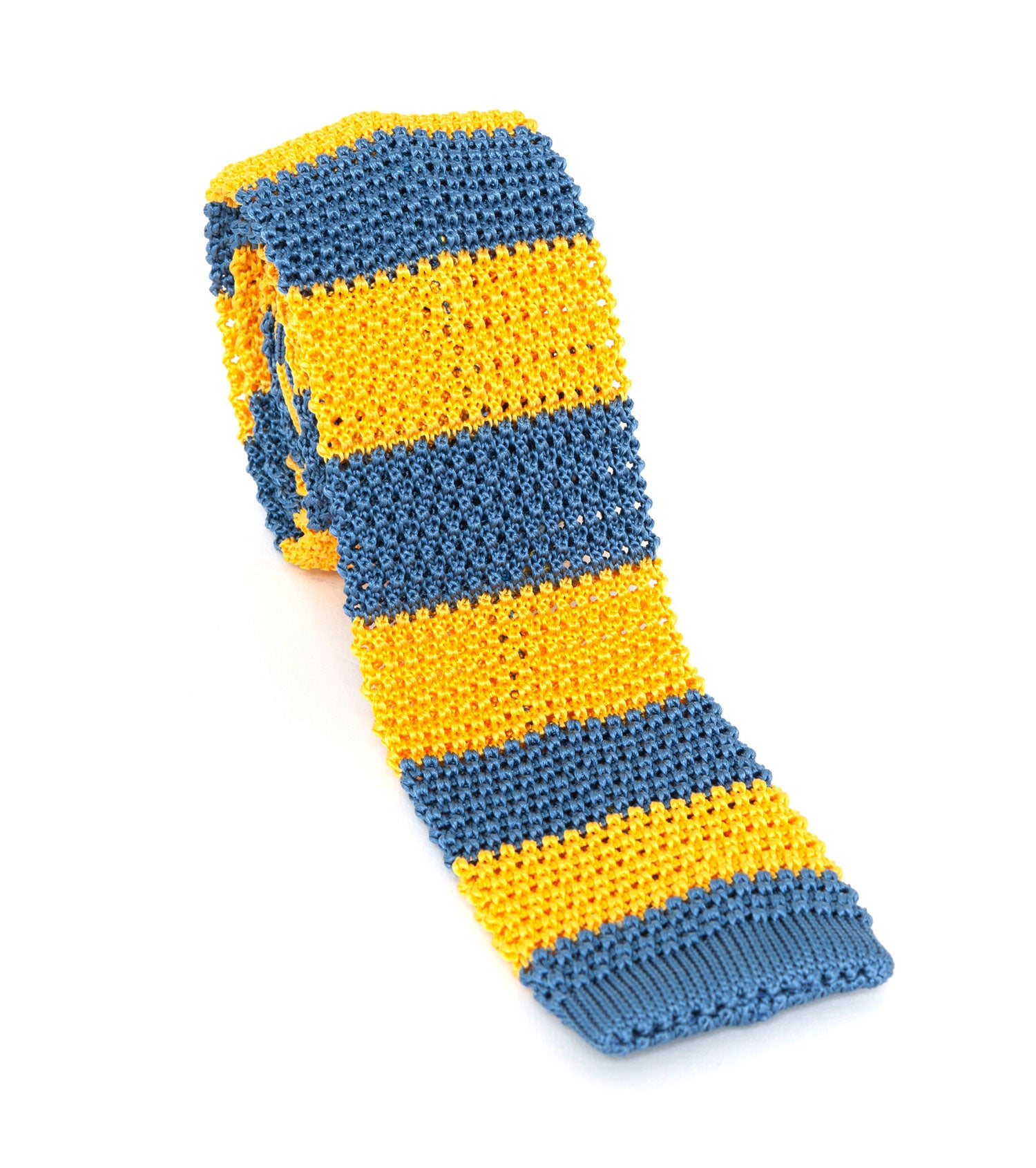 Regent Knitted Silk Tie - Gold & Blue Stripes