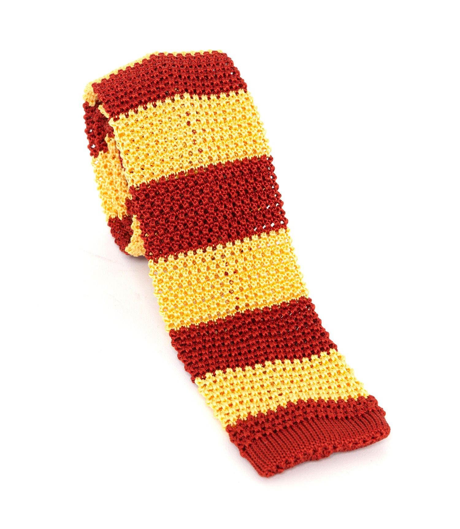 Regent Knitted Silk Tie - Gold & Red Stripes