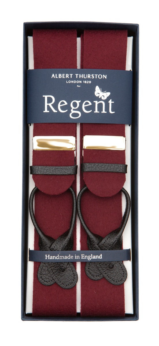 Burgundy box cloth braces with nickel fittings and black leather ends, designed and made in the UK exclusively for Regent.