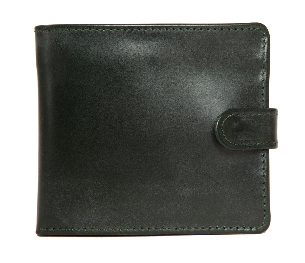 Luxury British racing green wallet designed and made in England exclusively for Regent in bridle leather, featuring button fastening, burgundy silk lining and coin, card and note compartments.