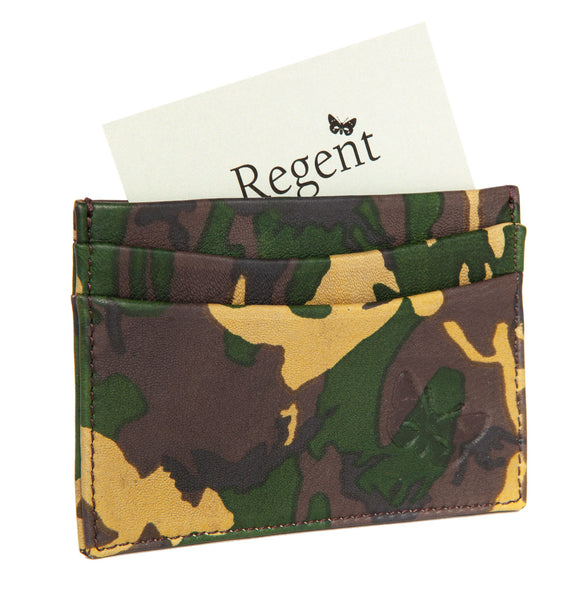 Leather and silk lined army camo cardholder designed and made in England exclusively for Regent.