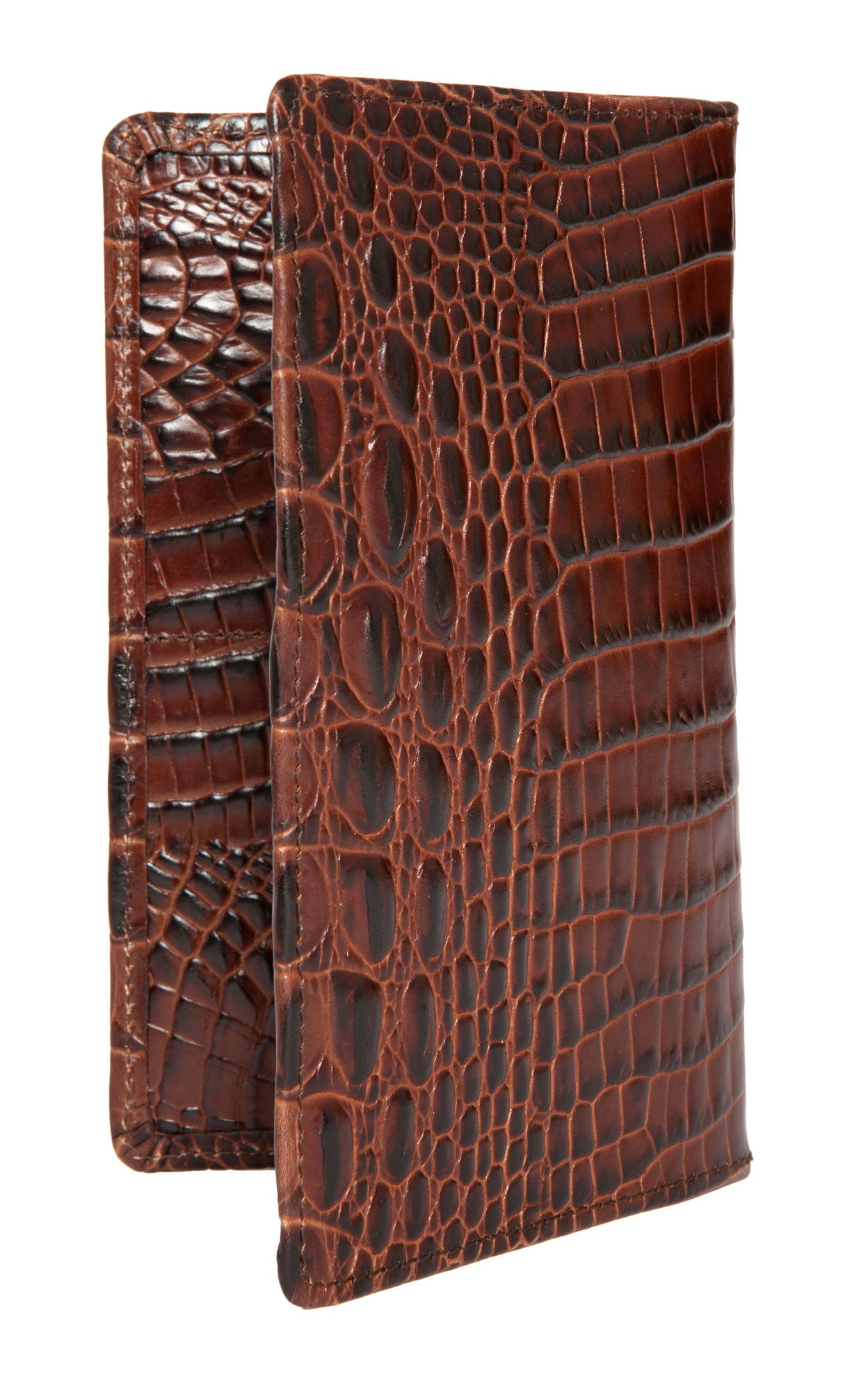 Brown mock/fake snake/crocodile-skin effect pressed tall leather 'hipster' attaché wallet made and designed in England exclusively for Regent.