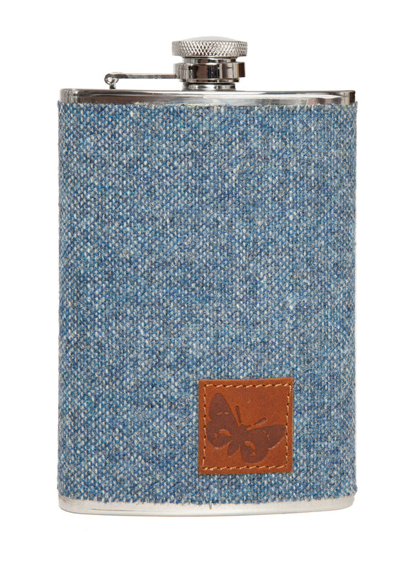 8 ounce hipflask in blue Mooncloth tweed design by Regent, featuring traditional screw closure.