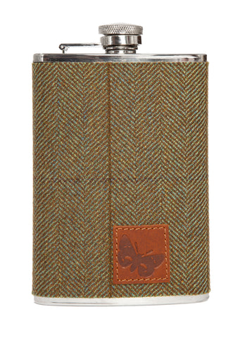 Regent Hipflask - Green Lovat Mill Tweed