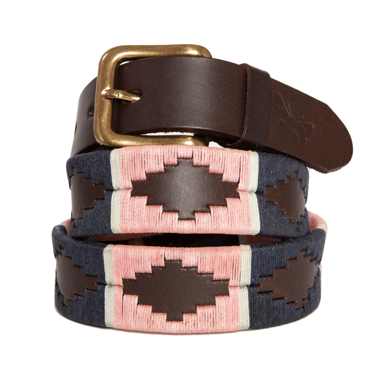 Argentinean-made embroidered leather polo belt made and designed exclusively by Regent with a 3.5cm width, brass-style buckle and hand-stitched diamond design, coming in multiple sizes.