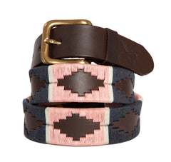 Regent – Polo Belt – Embroidered Leather – Navy & Pink