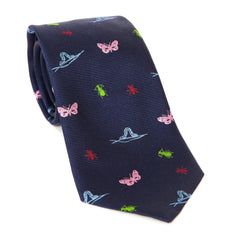 Regent Luxury Silk Tie - Navy with Insects