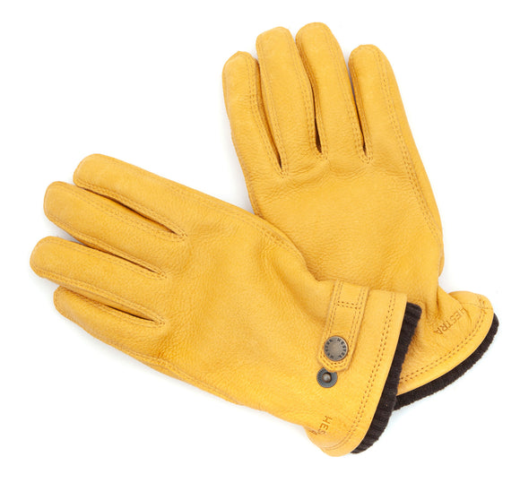 Yellow elk leather gloves with pro Primaloft insulation from Swedish handwear maestros Hestra.
