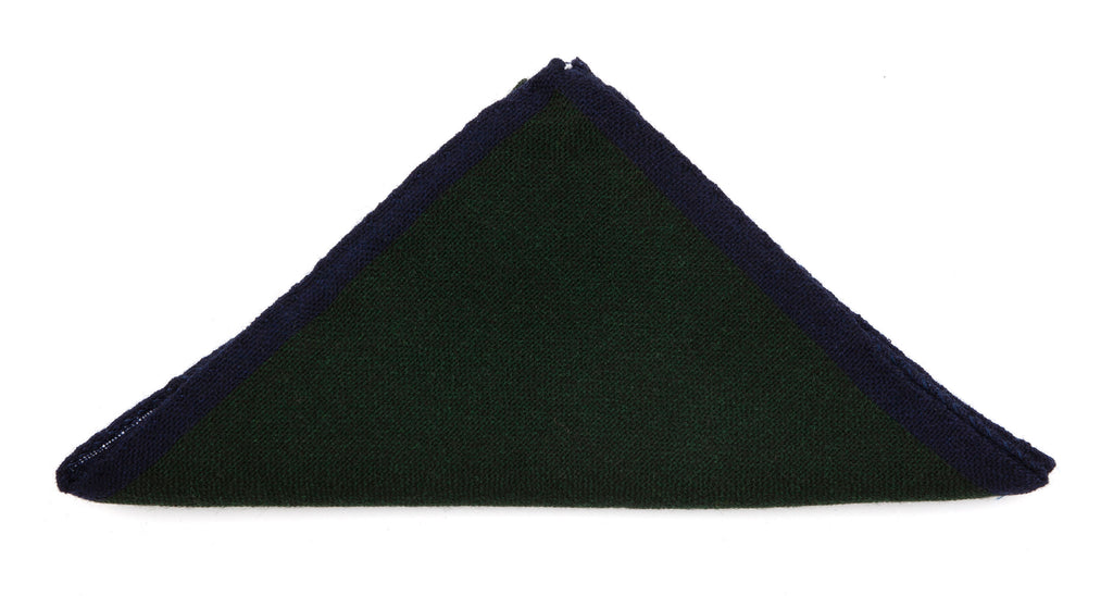 Regent - Pocket Square - Wool - Green with Navy Edging