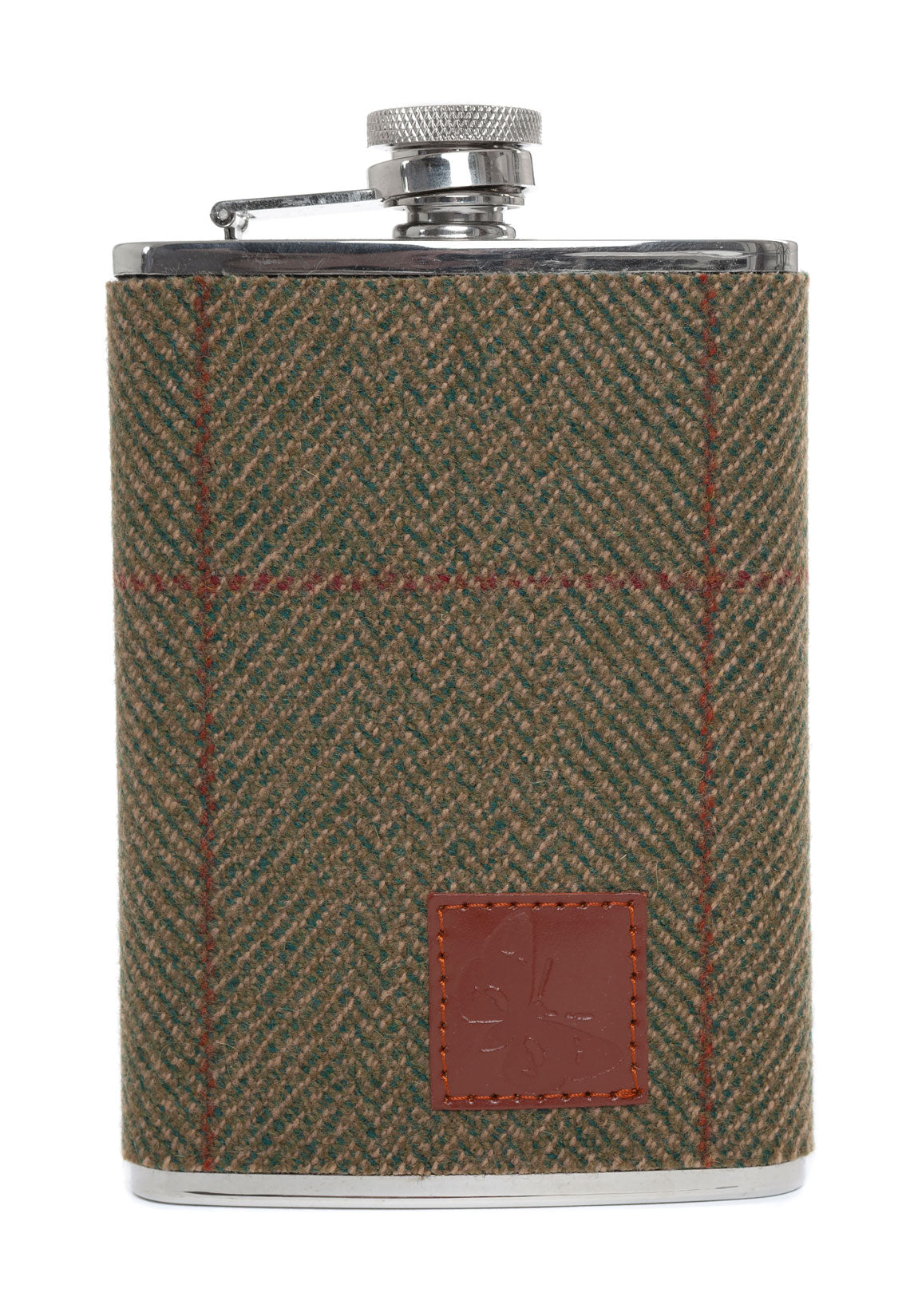 8 ounce hipflask in green prestigious Lovat Mill tweed design by Regent, featuring traditional screw closure.