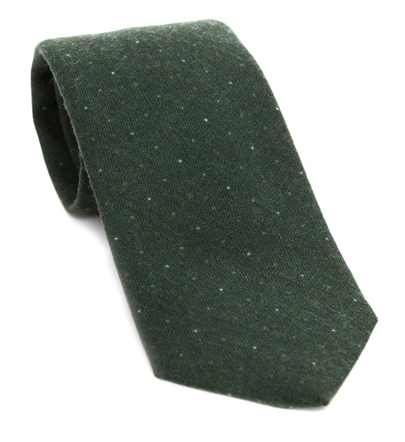 Luxury woven wool tie designed and made exclusively for Regent featuring a soft deep green overlaid with vintage-style spots in pale white and beige.