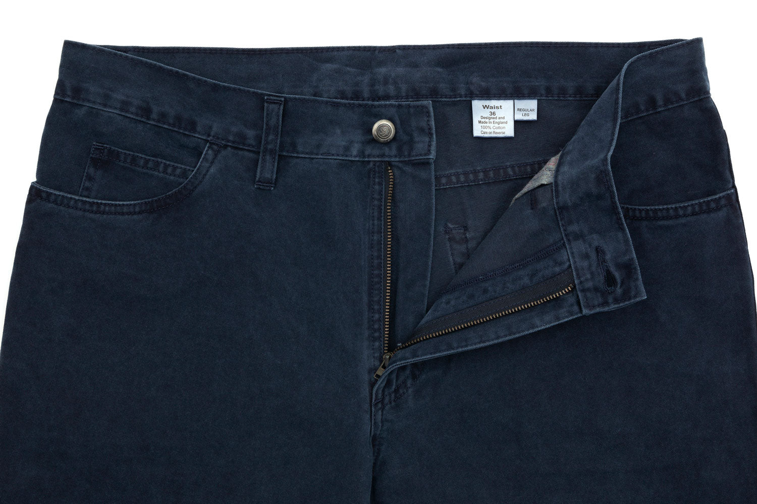 Navy cotton jean-chino hybrid designed and made exclusively by Regent.