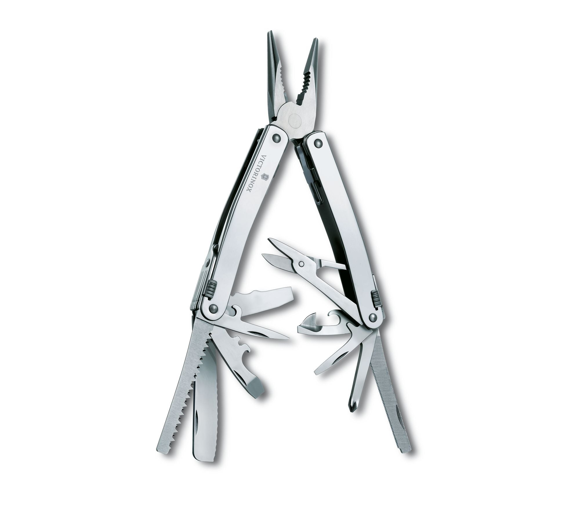 Swiss-army style tool with 35 different functions including all traditional operations, all fit within a standard-shape pair of pliers that come with leather case and swap-out cartridge.