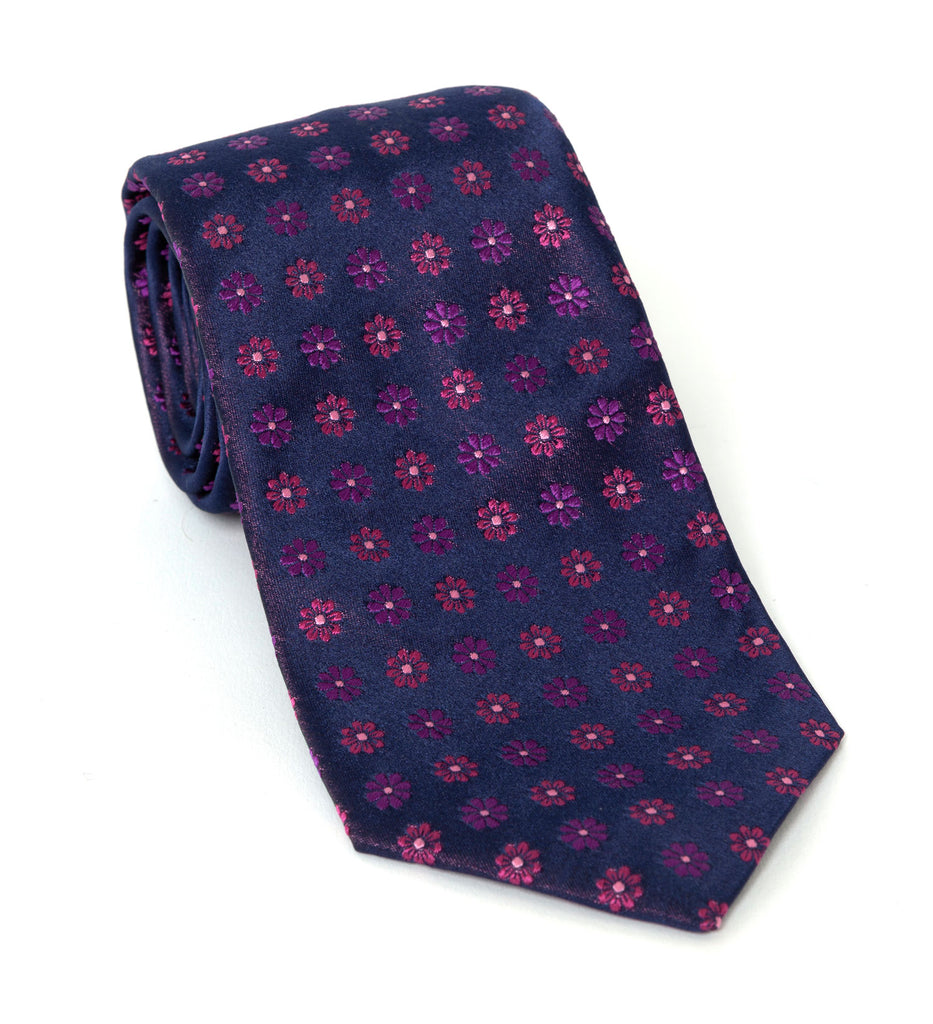 Regent Luxury Silk Tie - Purple Flower Motif - Regent Tailoring