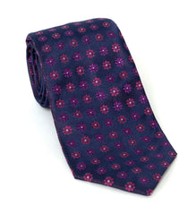 Regent Luxury Silk Tie - Purple Flower Motif