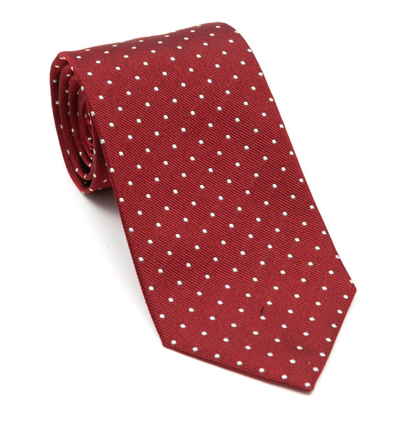 Luxury silk red tie with white spots designed and handmade exclusively for Regent