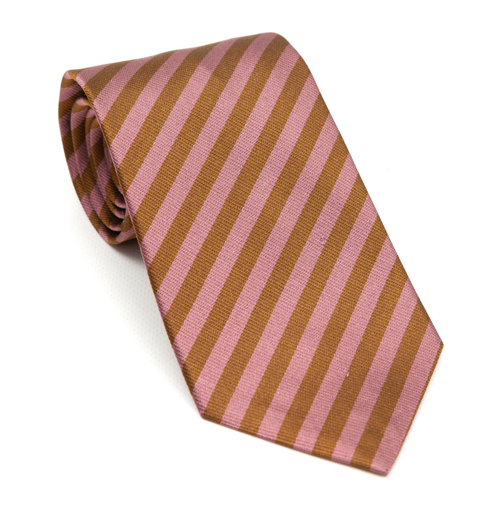 A luxury silk tie designed by and handmade exclusively for Regent. Soft pink and burnt gold stripes combine for an unusual and striking finish - great with a blue suit for a wedding.