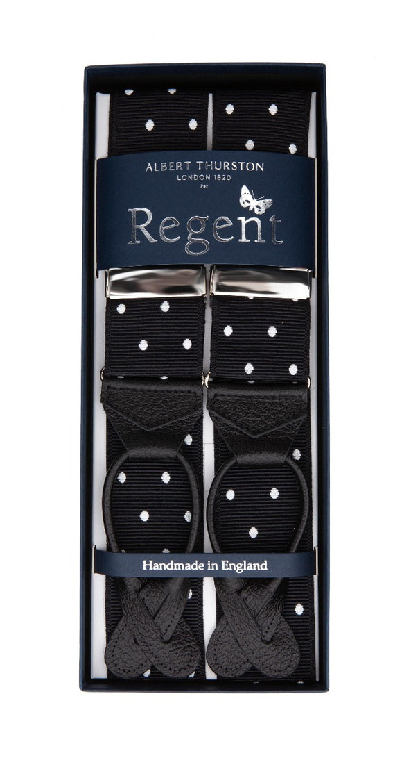 Regent x Albert Thurston - Braces - Black with White Spot - Regent Tailoring