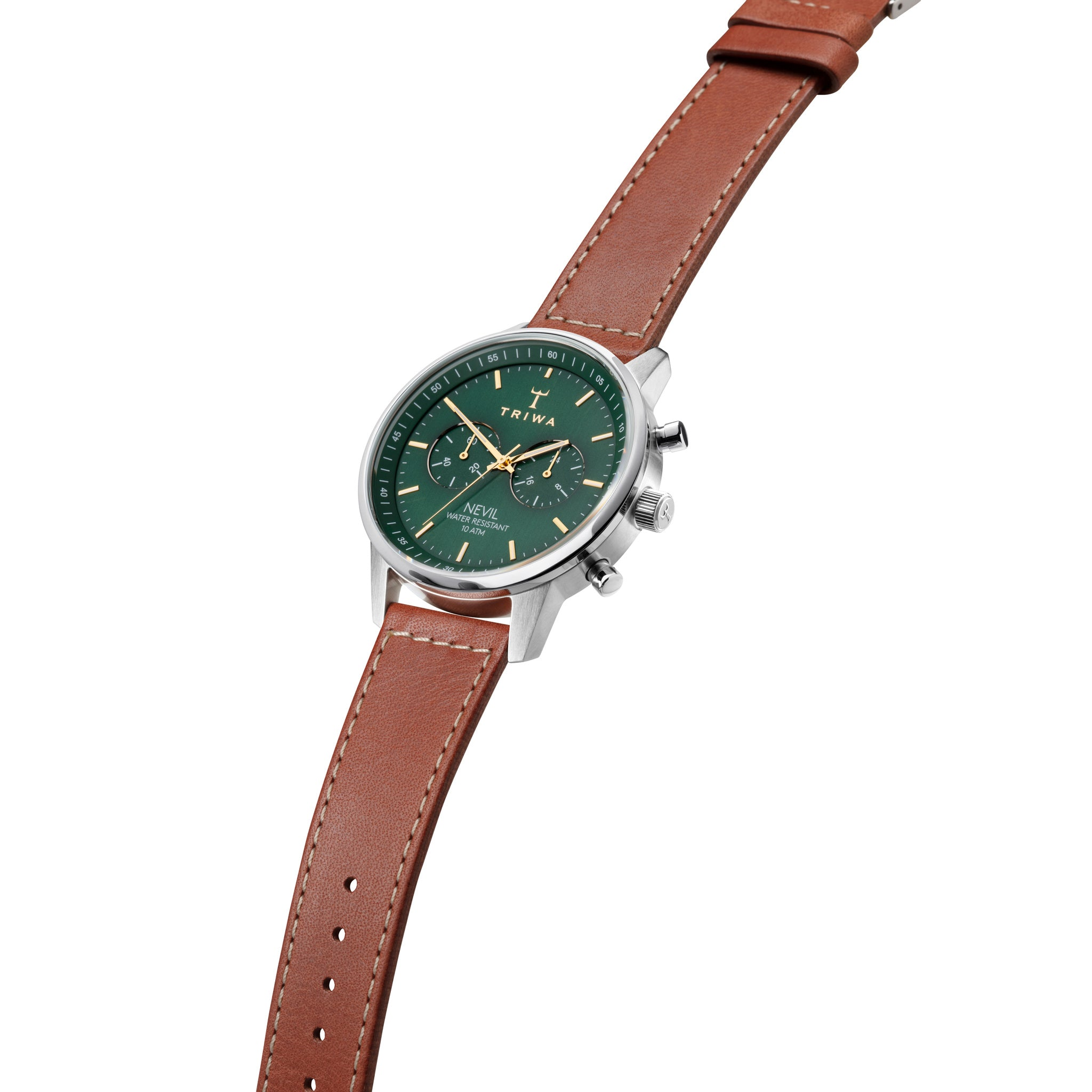 Supreme quality Swedish-made and designed watch in brushed steel with green face and brown leather strap, designed by Stocholkm-based Time Lords Triwa.