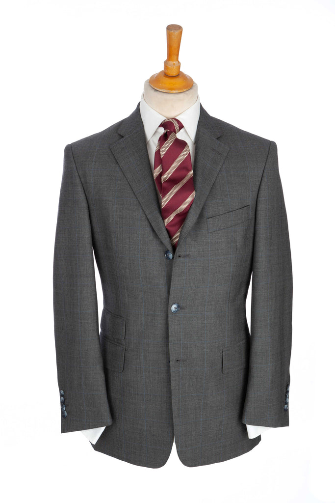 Regent - 'Godfather'- Three Button Suit - Grey w/ Sky-Blue Overcheck - Regent Tailoring