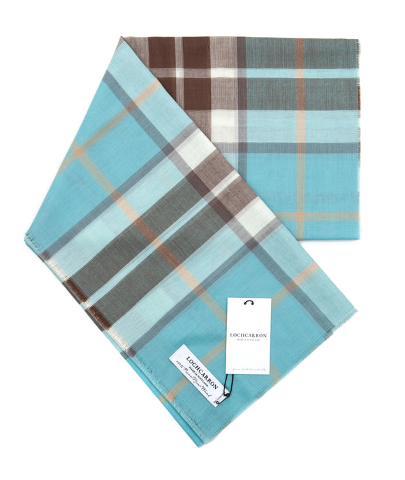 Lochcarron Check Wool Scarf - Light Blue