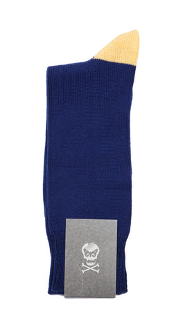 Regent Cotton Sock - Dark Blue with Yellow Heel and Toes