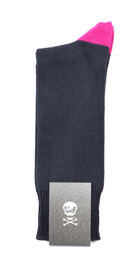 Regent Cotton Socks - Grey with Pink Heel and Toe