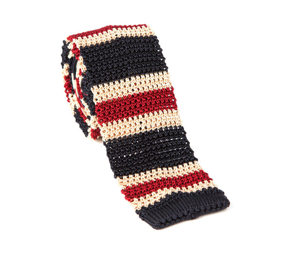 Regent Knitted Silk Tie- Red, Blue and White Stripes