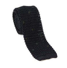 Regent - Knitted Silk Tie - Navy/Green - Spots