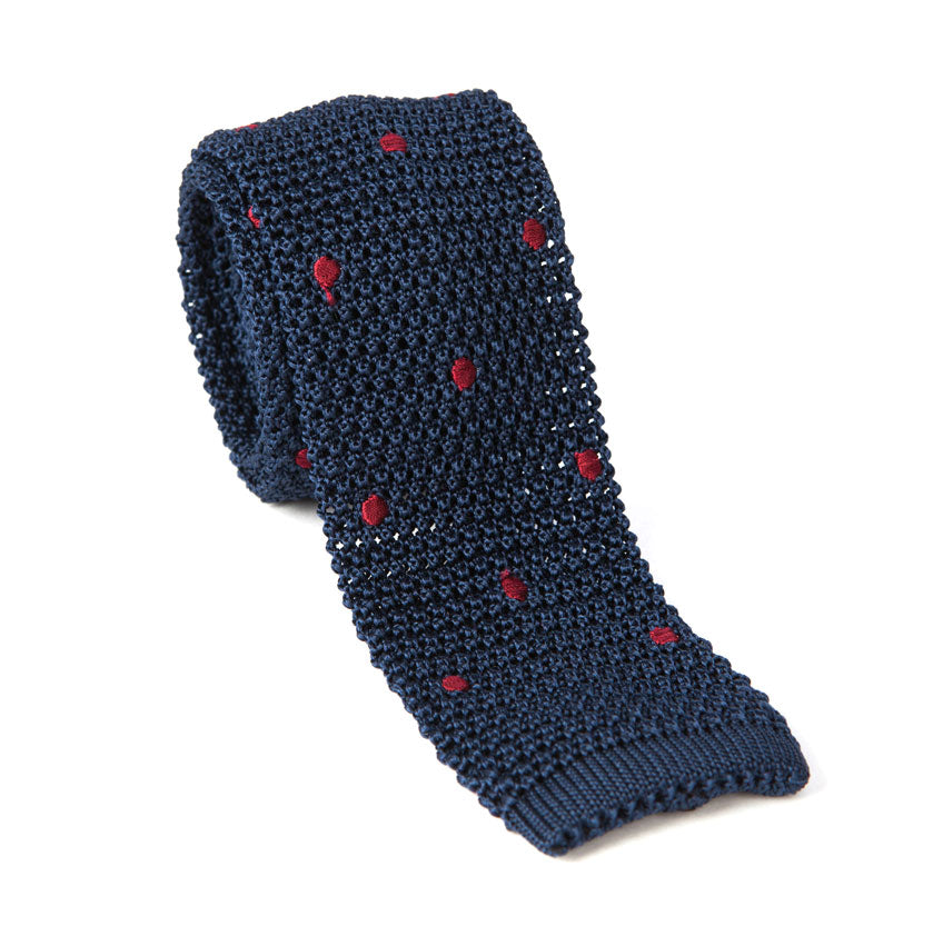 Regent  - Knitted Silk Tie- Navy with Red - Spots - Regent Tailoring