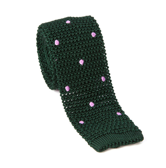 Regent Knitted Silk Tie-Green with Pink Spots