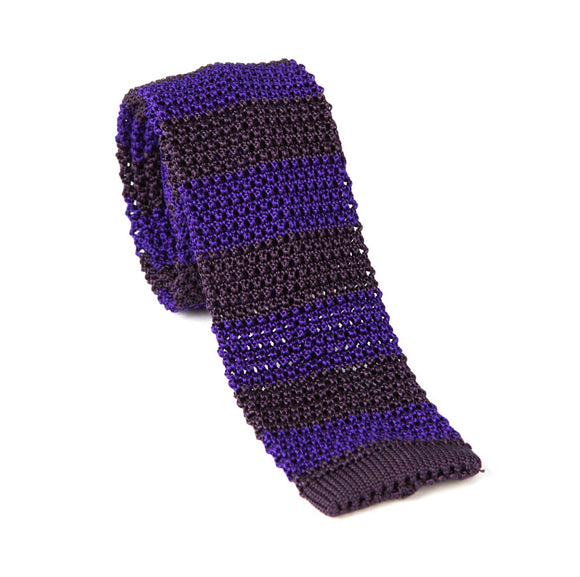 Regent Knitted Silk Tie- Purple And Brown Stripes