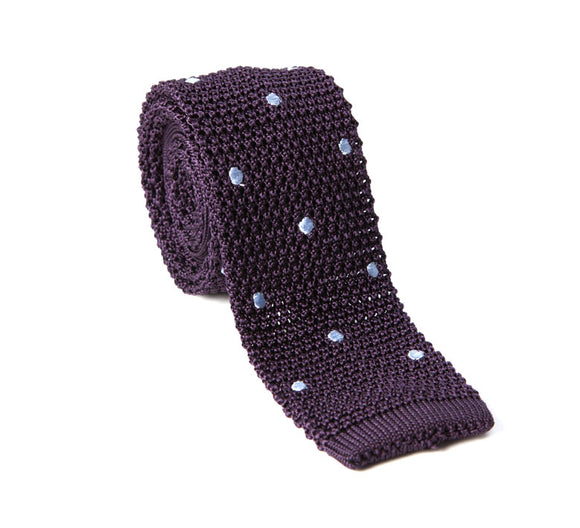 Regent Knitted Silk Tie- Purple With White Spots
