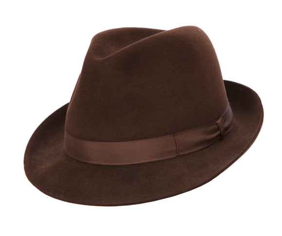 Regent Snap Brim Mac Fur Felt Trilby - Brown