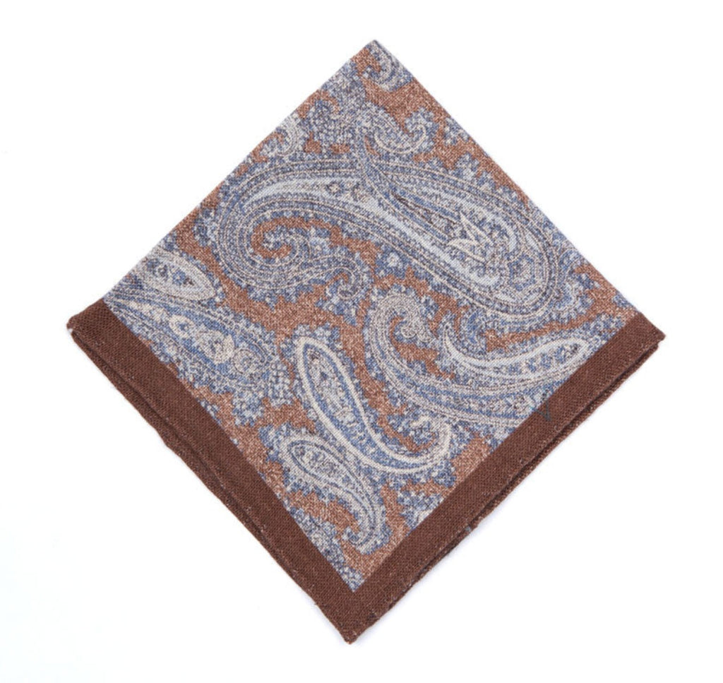 Regent - Pocket Square - Paisley on Brown - Regent Tailoring