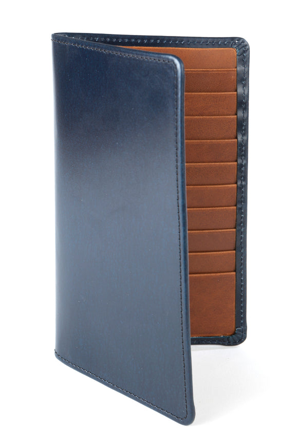 Regent Tall Leather Wallet - Navy Bridle