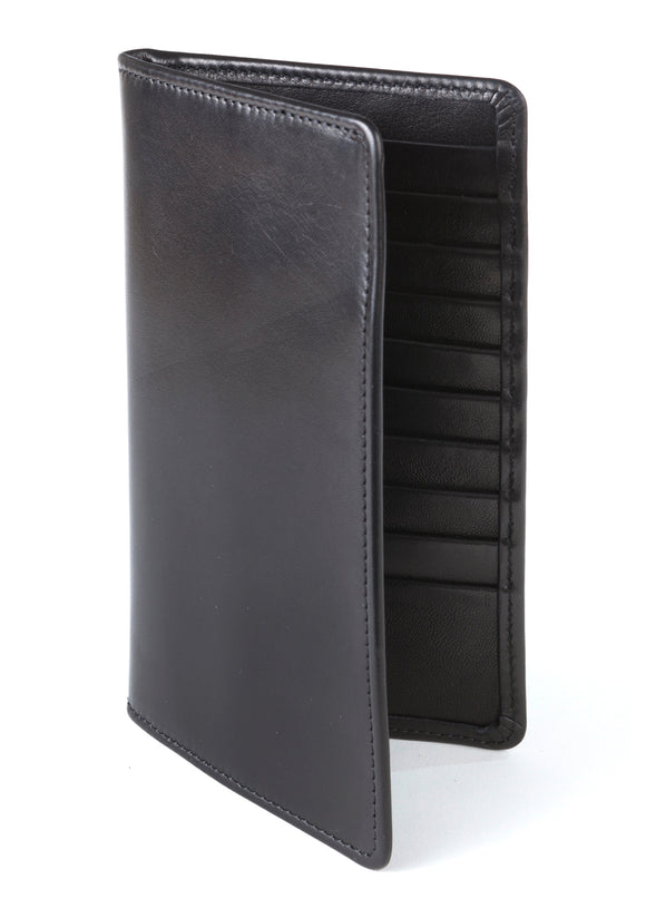 Regent Tall Leather Wallet - Black Verglas Leather