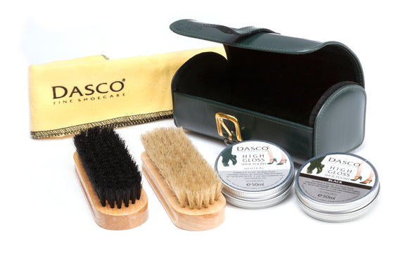 Regent Shoe Cleaning Kit and Brushes in Green Bridle Leather
