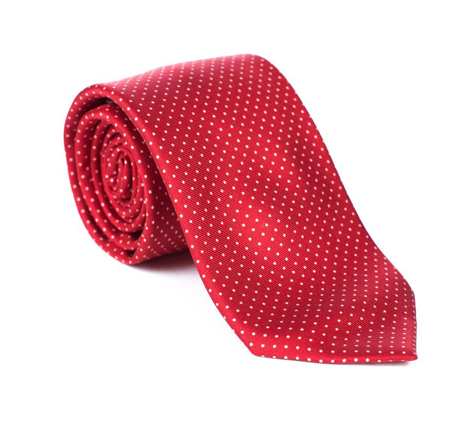 Regent - Woven Silk Tie - Red with White Polka-Dot - Regent Tailoring
