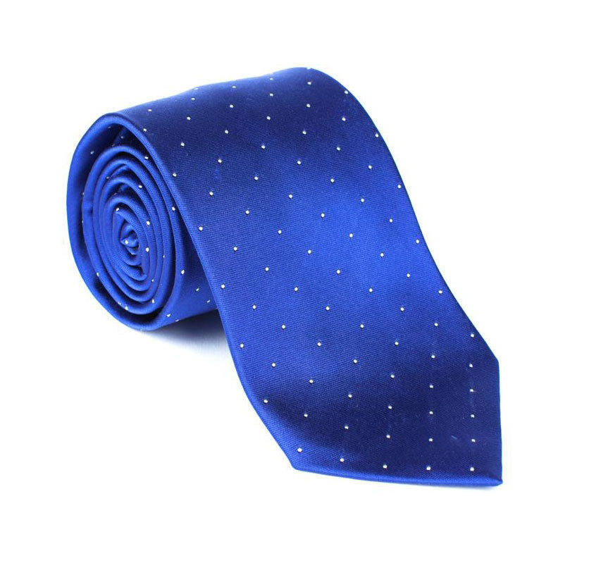 Regent - Woven Silk Tie -  Royal Blue with White Polka-Dot - Regent Tailoring