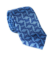 Regent - Woven Silk Tie - Sky Blue with Royal Blue Butterflies