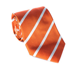Regent - Woven Silk Striped Tie - Orange with White Stripe