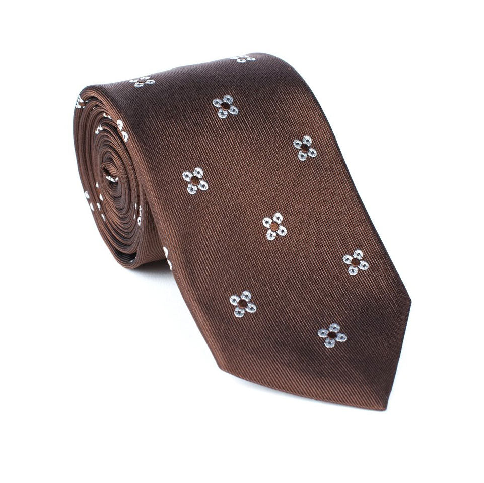 Regent - Woven Silk Tie - Brown with Daisy Pattern - Regent Tailoring