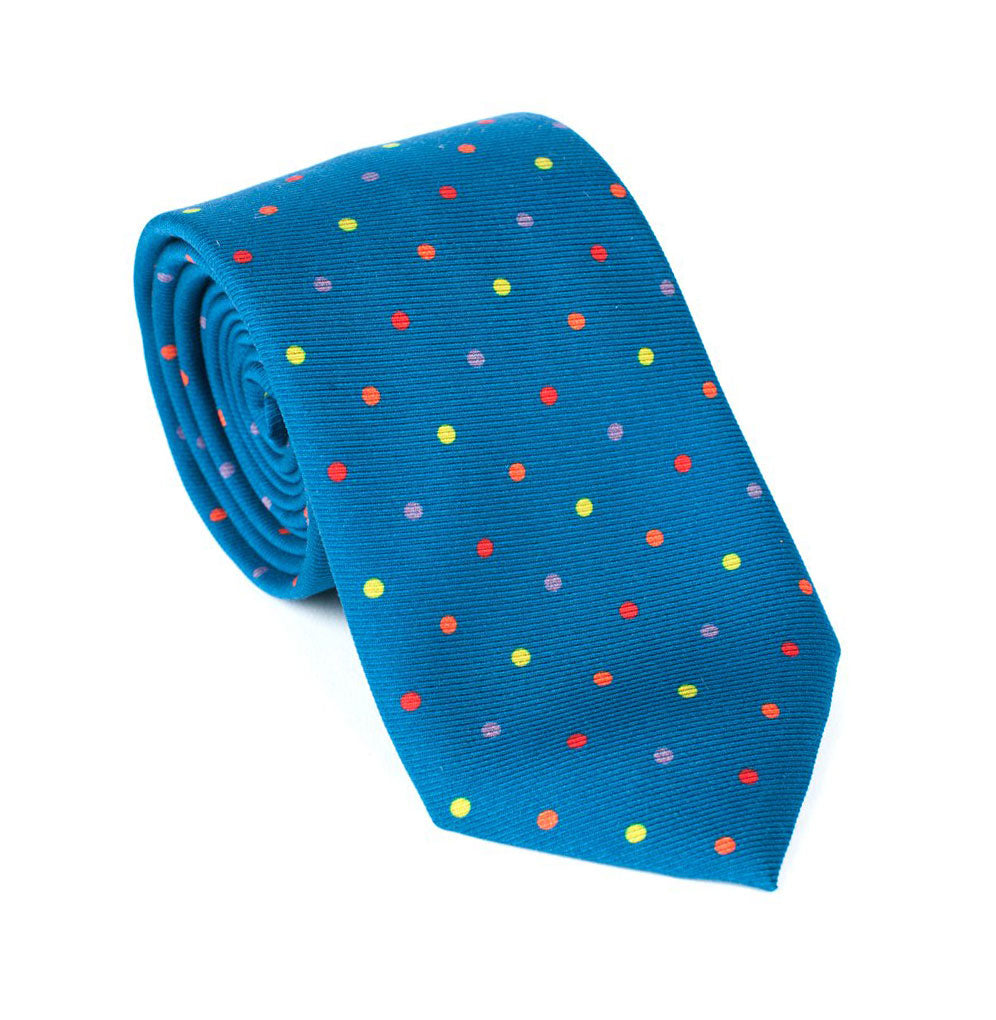 Regent - Woven Wool Tie - Blue with Multi-Colour Spots - Regent Tailoring