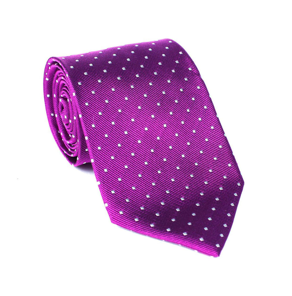 Regent - Woven Silk Tie - Purple with White Polka-Dot - Regent Tailoring