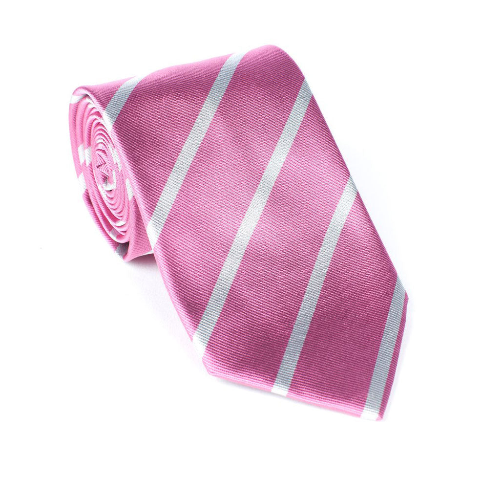 Regent - Woven Silk Stripped Tie - Pink with White Stripe - Regent Tailoring