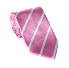 Regent - Woven Silk Stripped Tie - Pink with White Stripe