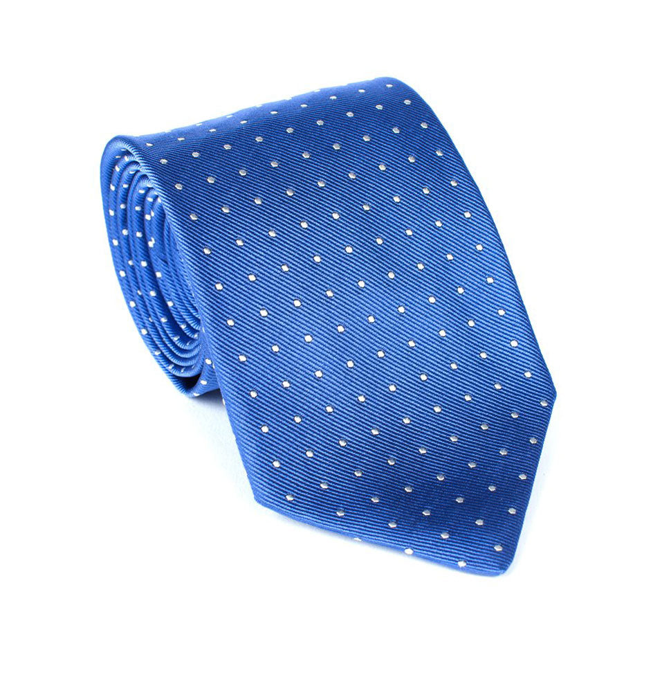 Regent - Woven Silk Tie - Sky Blue with White Polka-Dot - Regent Tailoring