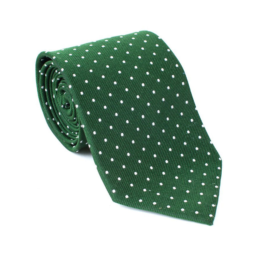Regent - Woven Silk Tie - Dark Green with Polka-Dot - Regent Tailoring