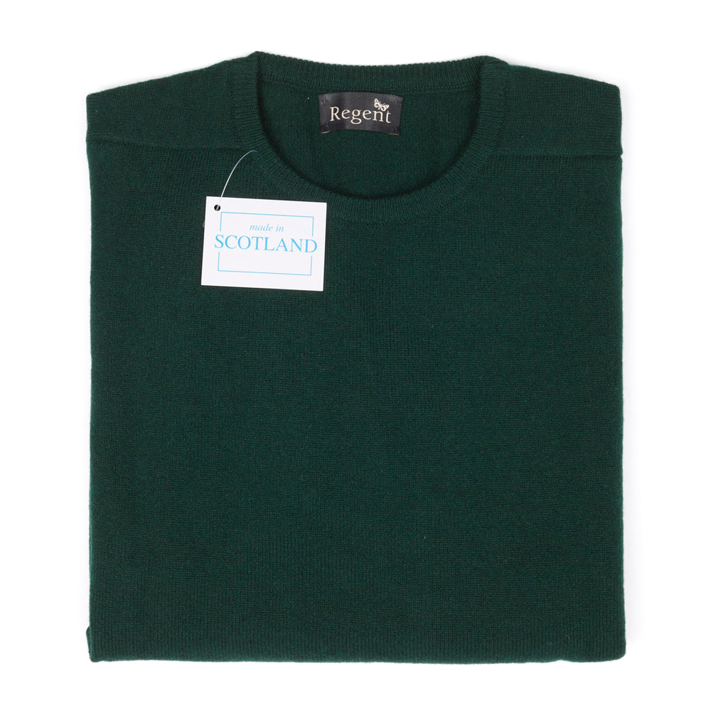 Regent - Crew Jumper - Geelong Lamb Wool - Dark Green - Regent Tailoring
